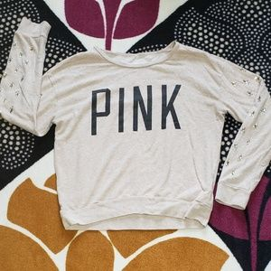 Pink by VS beige sweat shirt sz S